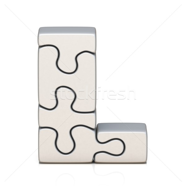 White puzzle jigsaw letter L 3D Stock photo © djmilic