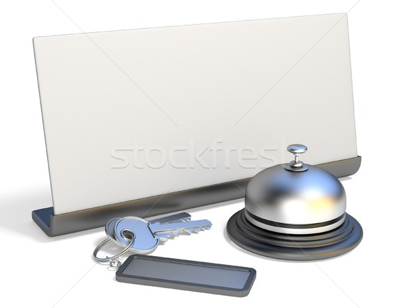 Hotel bell, blank sign and hotel keys 3D Stock photo © djmilic