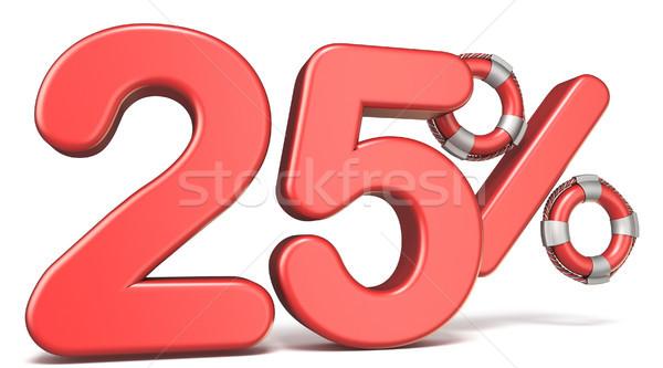 Reddingsboei 25 procent teken 3d render illustratie Stockfoto © djmilic