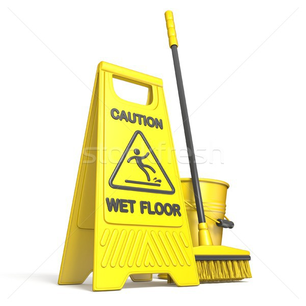 Yellow wet floor sign, bucket and mop 3D Stock photo © djmilic