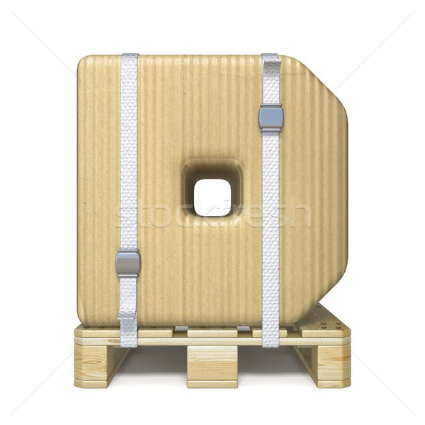 Kartondoboz betűtípus d betű fából készült 3D 3d render Stock fotó © djmilic