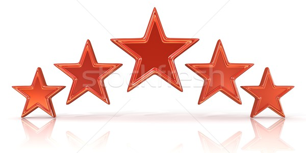 3D rendering of five red stars Stock photo © djmilic