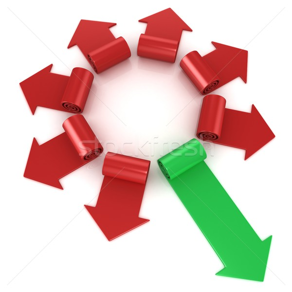 Red spiral arrows directed of the center, with one green arrows  Stock photo © djmilic