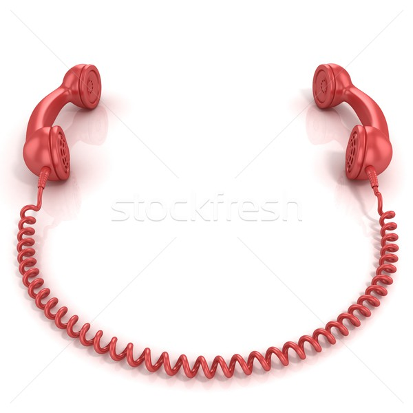 Red old fashion phone handsets connected Stock photo © djmilic