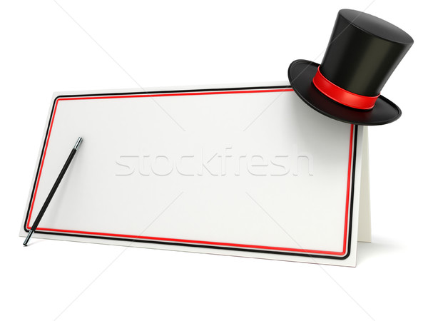 Magic wand and hat on blank board with black and red border. 3D Stock photo © djmilic