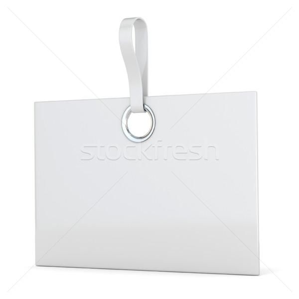 Weiß Kunststoff rechteckige Label vertikalen 3D Stock foto © djmilic