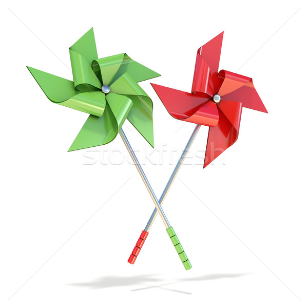 Red and green pinwheels. 3D Stock photo © djmilic