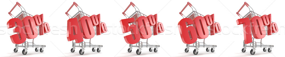 30%, 40%, 50%, 60%, 70% percent discount in front of shopping ca Stock photo © djmilic