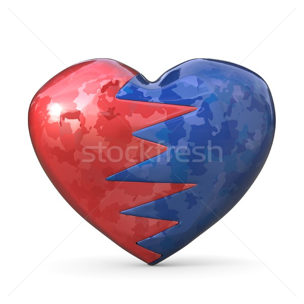 Broken heart, two pieces, red and blue one. 3D Stock photo © djmilic