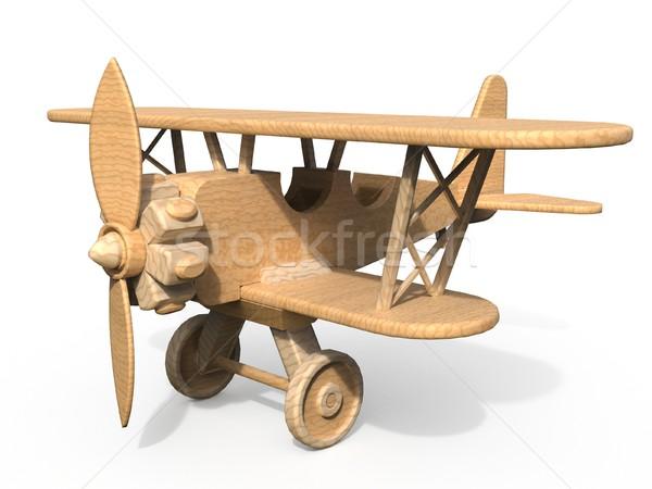 Foto stock: Brinquedo · de · madeira · avião · 3D · 3d · render · ilustração · isolado
