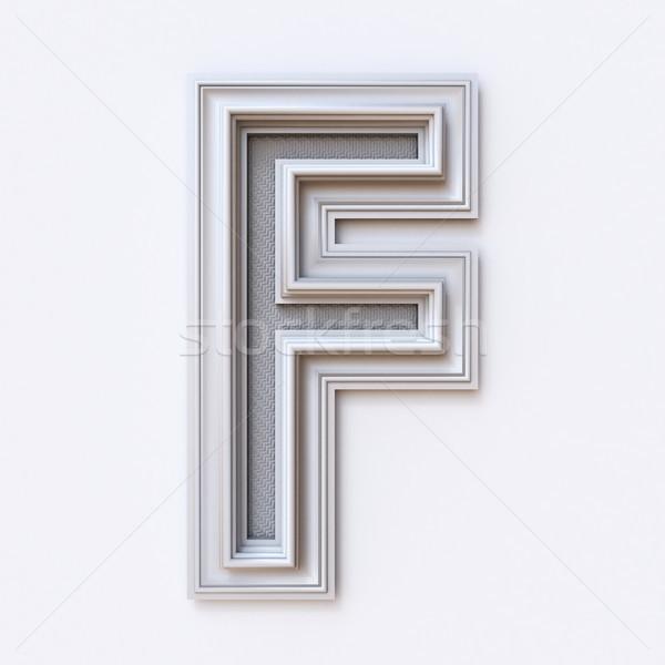 Branco quadro de imagem fonte letra f 3D Foto stock © djmilic