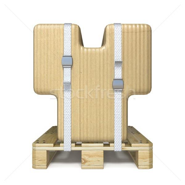 Cardboard box font Letter Y on wooden pallet 3D Stock photo © djmilic