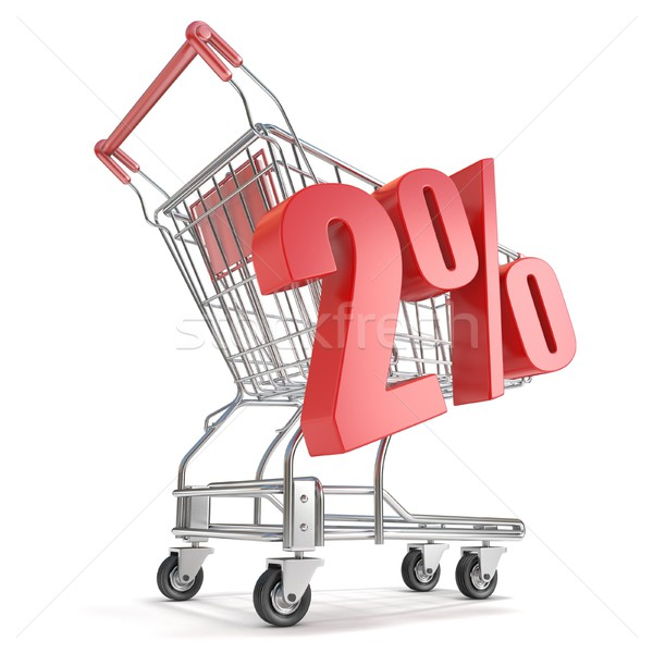 2% - two percent discount in front of shopping cart. Sale concep Stock photo © djmilic