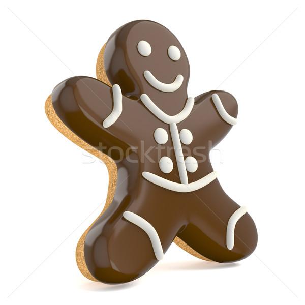 Stock fotó: Csokoládé · karácsony · mézeskalács · ember · díszített · fehér · vonalak