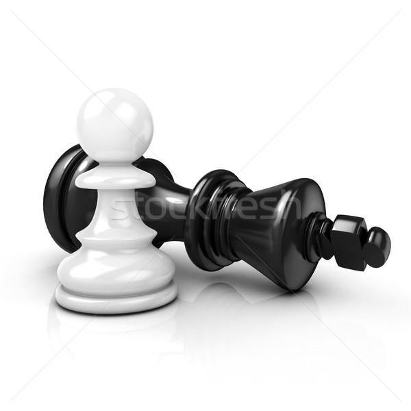 White pawn standing over fallen black king Stock photo © djmilic
