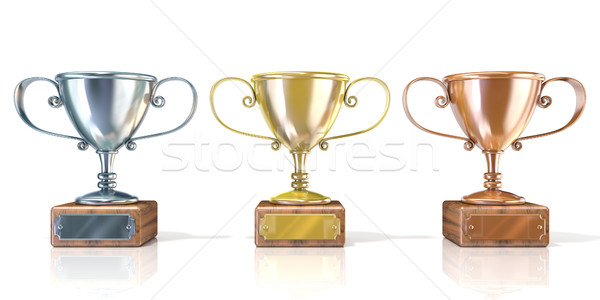Three cup trophies, gold, silver and bronze. 3D Stock photo © djmilic
