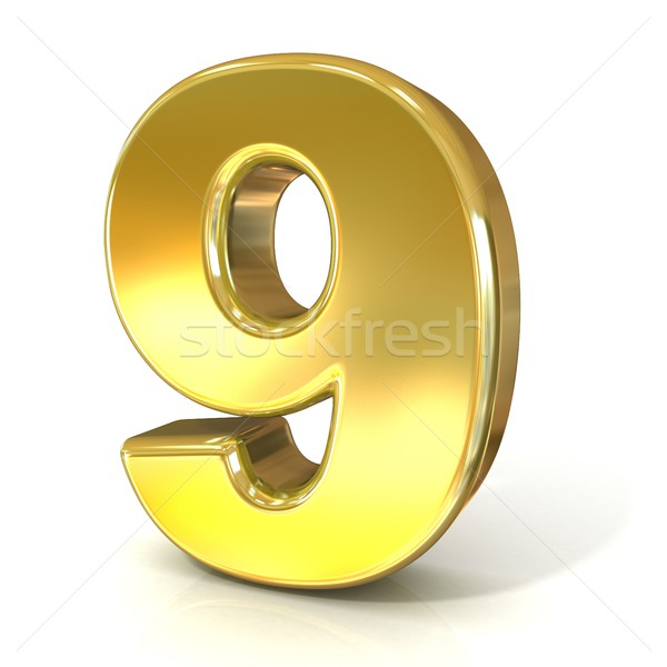 Numerical digits collection, 9 - NINE. 3D golden sign Stock photo © djmilic