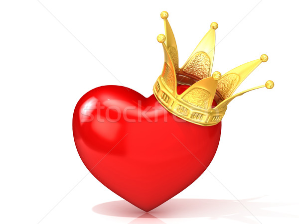 Red heart with golden crown. 3D Stock photo © djmilic