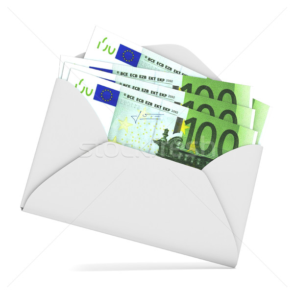 Euros in envelope. 3D Stock photo © djmilic