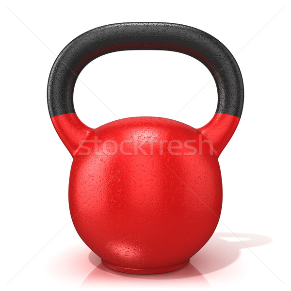 Red kettle bell weight, isolated on a white background. 3D Stock photo © djmilic