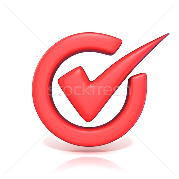 Stock photo: Red correct check mark in circle. 3D