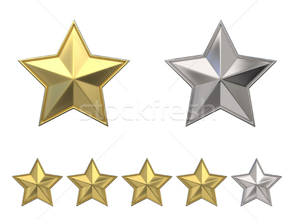 Voting concept. Rating four golden stars. 3D Stock photo © djmilic