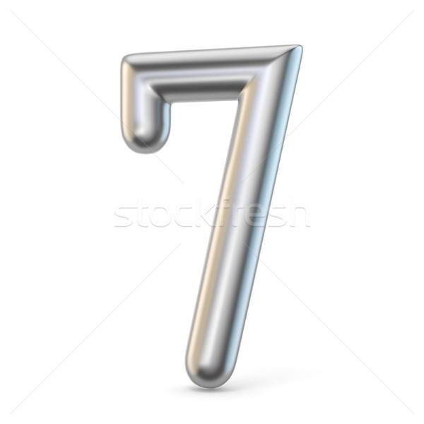 Metal silver font. Number SEVEN 7 3D Stock photo © djmilic