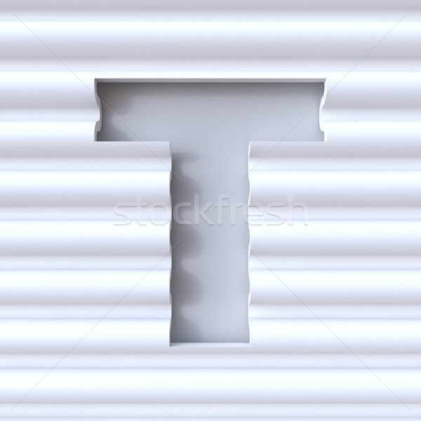 Cut out font in wave surface LETTER T 3D rendering illustration Stock photo © djmilic