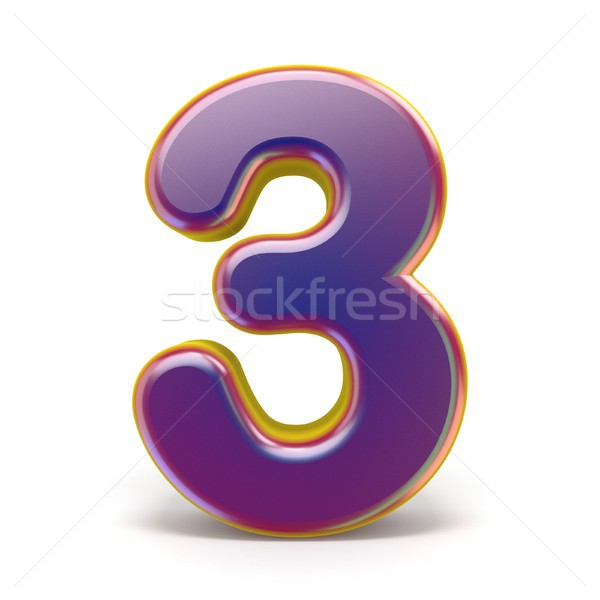 Number THREE 3 purple font yellow outlined 3D Stock photo © djmilic