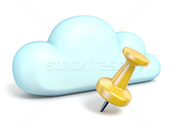 Cloud icon with yellow thumbtack 3D Stock photo © djmilic