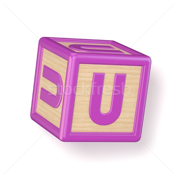 Letter U wooden alphabet blocks font rotated. 3D Stock photo © djmilic