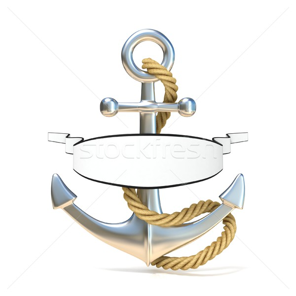Steel anchor with rope and blank ribbon. 3D Stock photo © djmilic