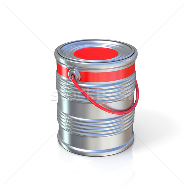 Metal tin can with red paint Stock photo © djmilic