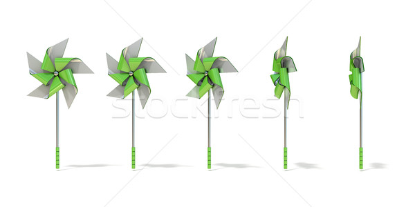 Five angles views of five sided pinwheel. 3D Stock photo © djmilic