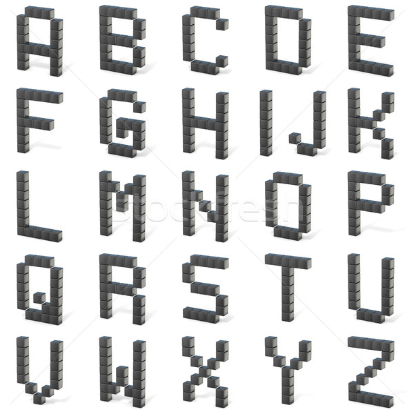 8 bit font. Capital letters ALL. 3D Stock photo © djmilic
