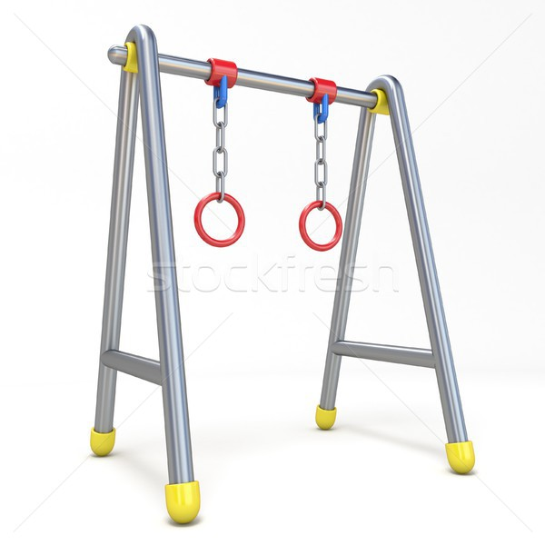 Children swing with metal rings 3D Stock photo © djmilic