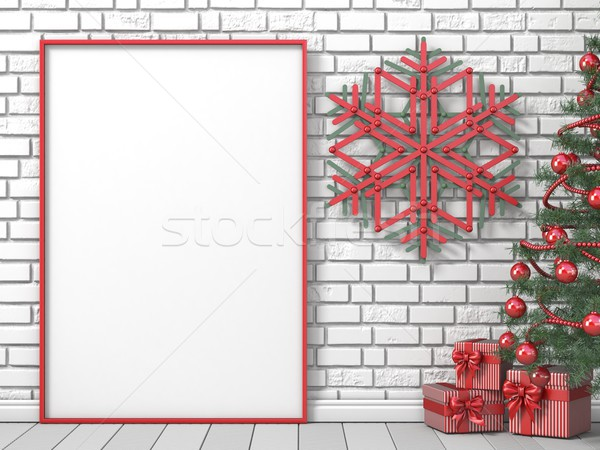 Mock up blank picture frame, Christmas tree, popsicle sticks sno Stock photo © djmilic