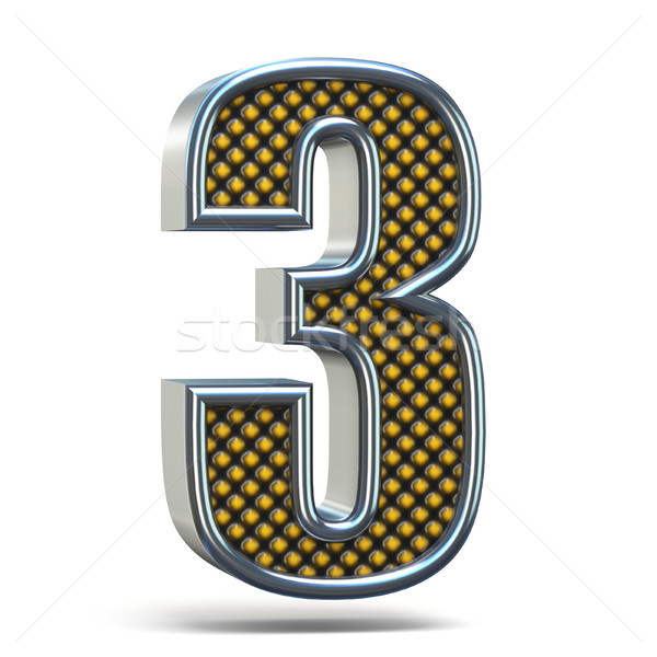 Chrome metal orange dotted font Number THREE 3 3D Stock photo © djmilic