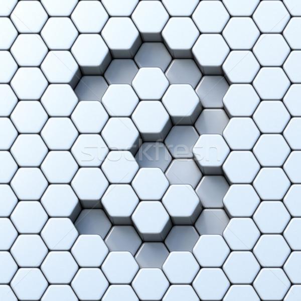 Hexagonal grid number THREE 3 3D Stock photo © djmilic
