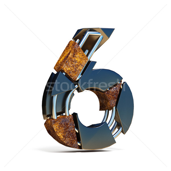 Black brown fracture font number 6 SIX 3D Stock photo © djmilic