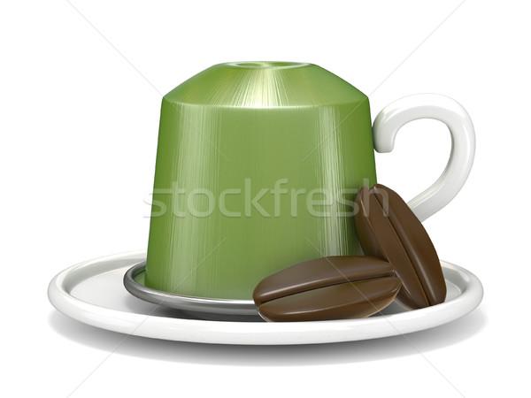 Stock fotó: Zöld · kávé · kapszula · kettő · kávé · 3D