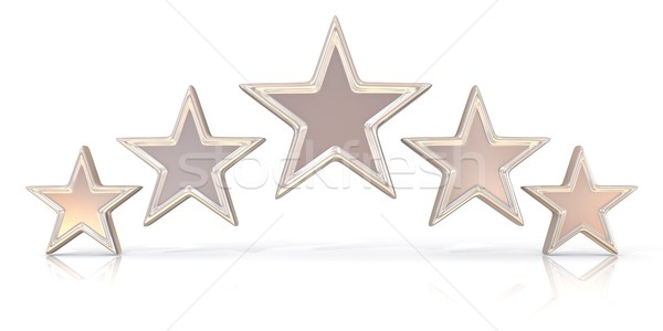 3D rendering of five silver stars Stock photo © djmilic