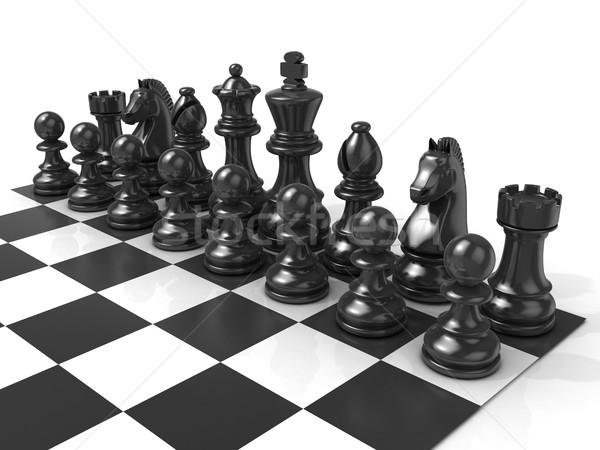 Tabuleiro de xadrez preto peças de xadrez isolado branco guerra Foto stock © djmilic