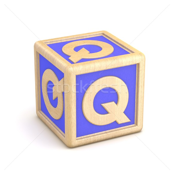 Letter Q wooden alphabet blocks font rotated. 3D Stock photo © djmilic