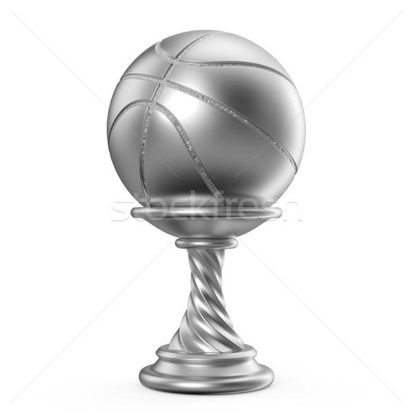 Ezüst trófea csésze kosárlabda 3D 3d render Stock fotó © djmilic