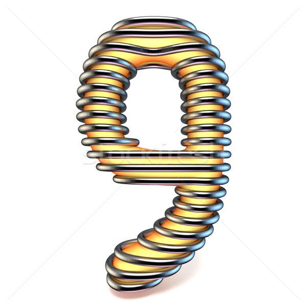 Сток-фото: оранжевый · желтый · числа · девять · металл · клетке
