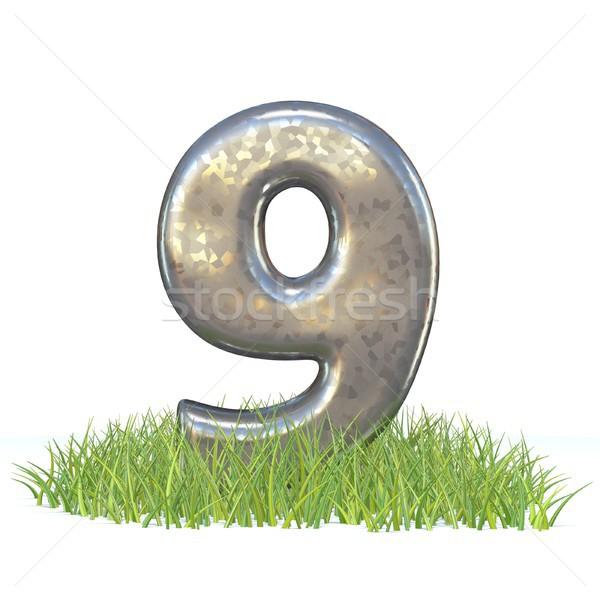 гальванизированный металл шрифт числа девять трава Сток-фото © djmilic