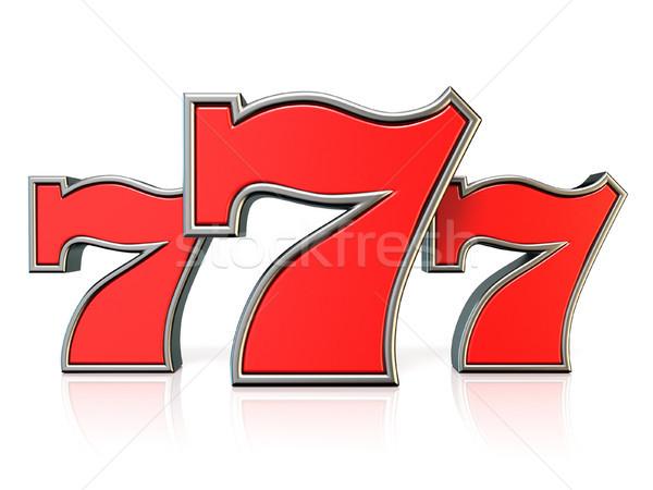 Rosso fortunato jackpot simbolo 3D rendering 3d Foto d'archivio © djmilic
