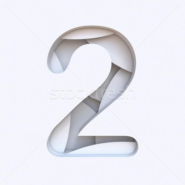 White abstract layers font Number 2 TWO 3D Stock photo © djmilic