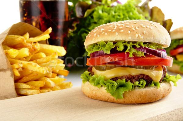 Afbeelding cola hout gesneden groot cheeseburger Stockfoto © dla4